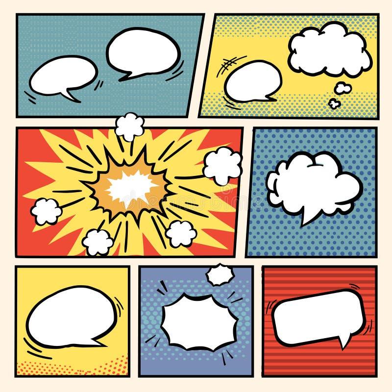 Установленные пузыри речи стиля комика бесплатная иллюстрация
