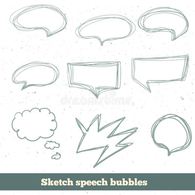 Установленные пузыри речи эскиза вектора EPS10 иллюстрация штока