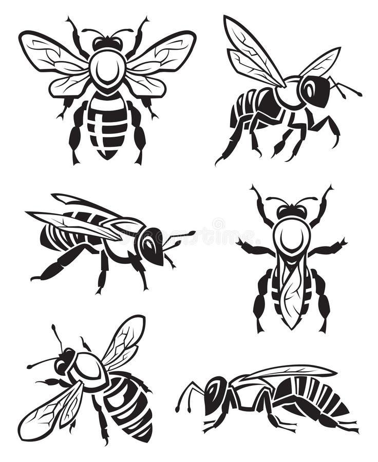 установленные пчелы иллюстрация вектора