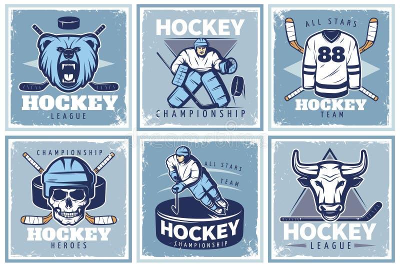 Установленные плакаты хоккейной лиги бесплатная иллюстрация