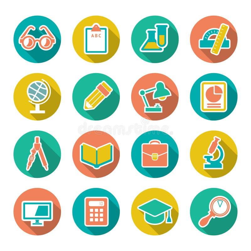 Установленные плоские значки школы и образования с длинным s иллюстрация штока
