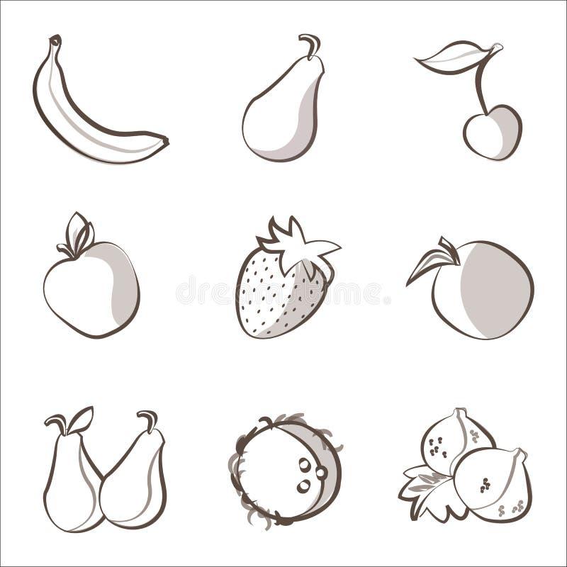 Установленные плодоовощи плана иллюстрация вектора