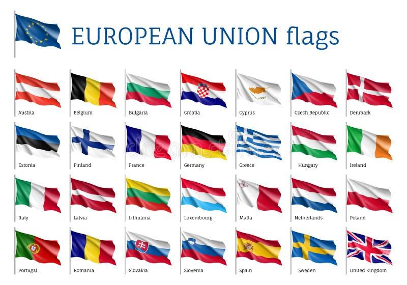 Установленные развевая флаги EC иллюстрация вектора