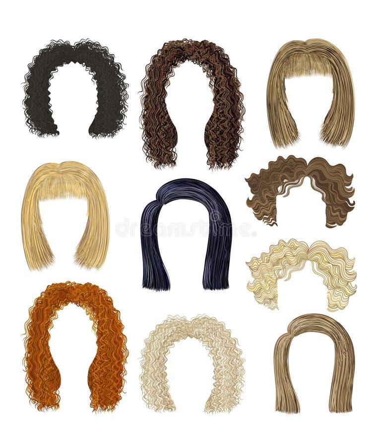 Установленные различные стили причёсок волосы бесплатная иллюстрация