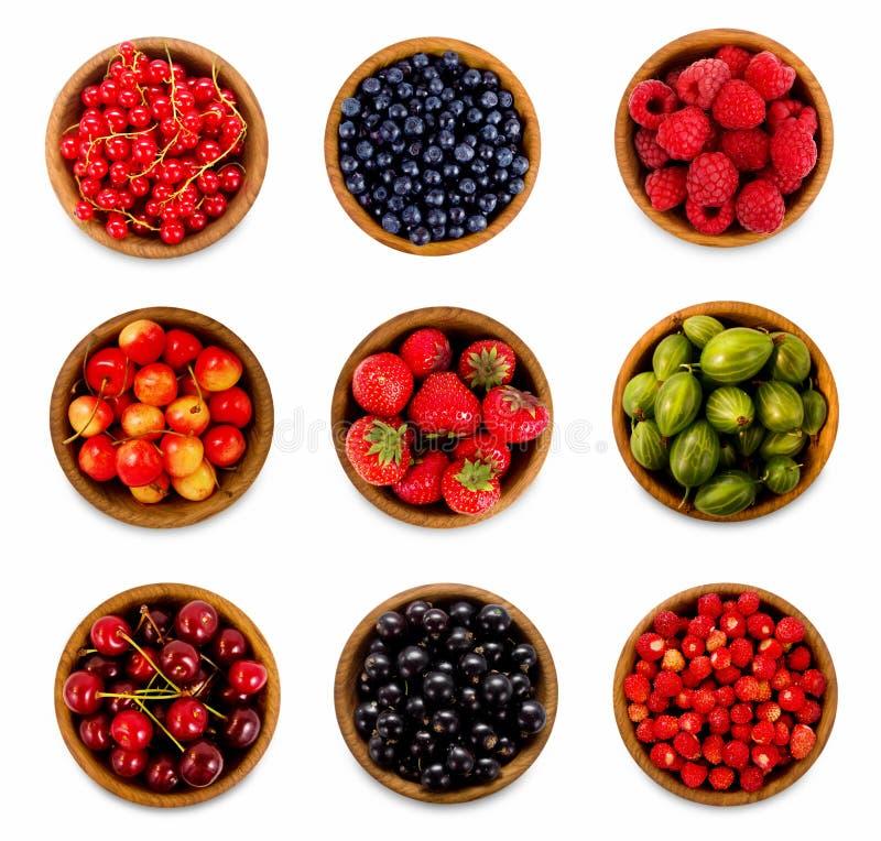 Установленные различные ягоды Клубники, смородина, вишня, поленики, крыжовники и черника стоковое изображение rf