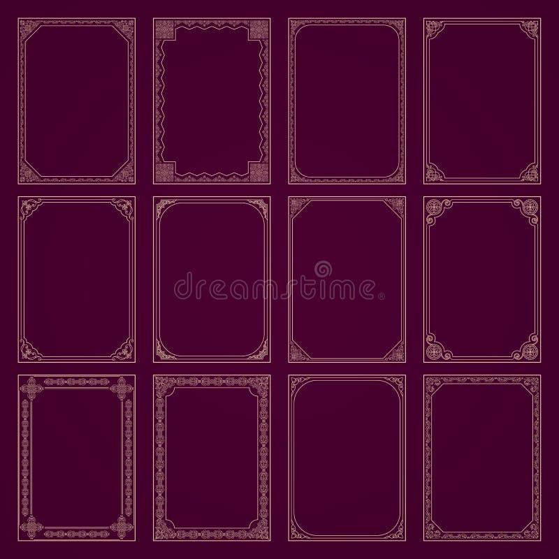 Установленные рамки и границы декоративного вектора винтажные иллюстрация штока