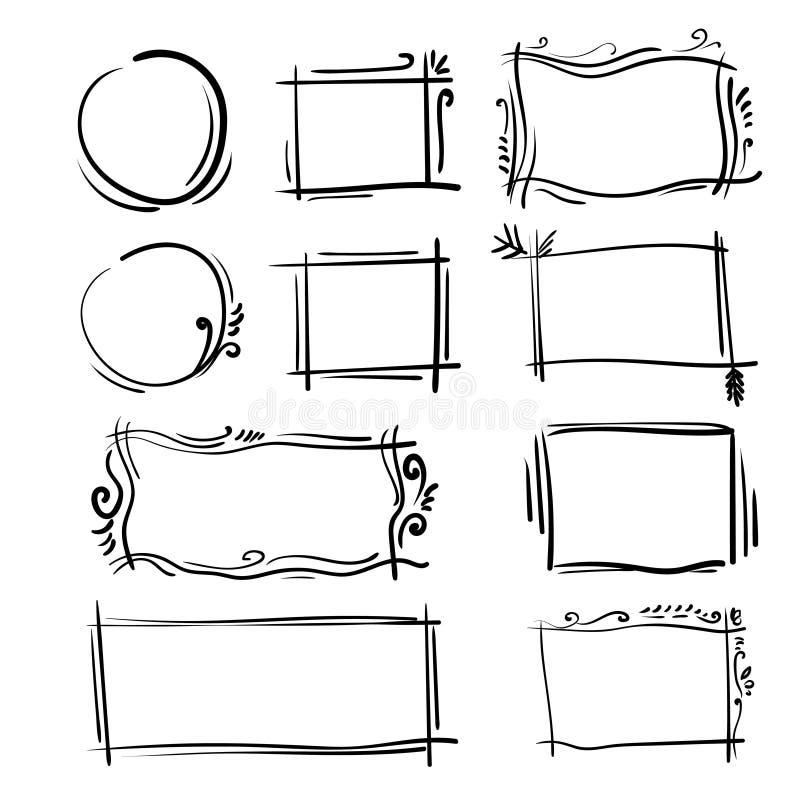 Установленные рамки нарисованные рукой Квадрат вектора шаржа и круглые границы Формы влияния карандаша иллюстрация вектора