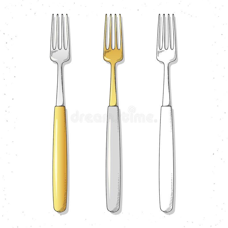 Установленные реалистические вилки эскиза Штепсельные вилки для того чтобы создать дизайн Столовый прибор handmade иллюстрация штока