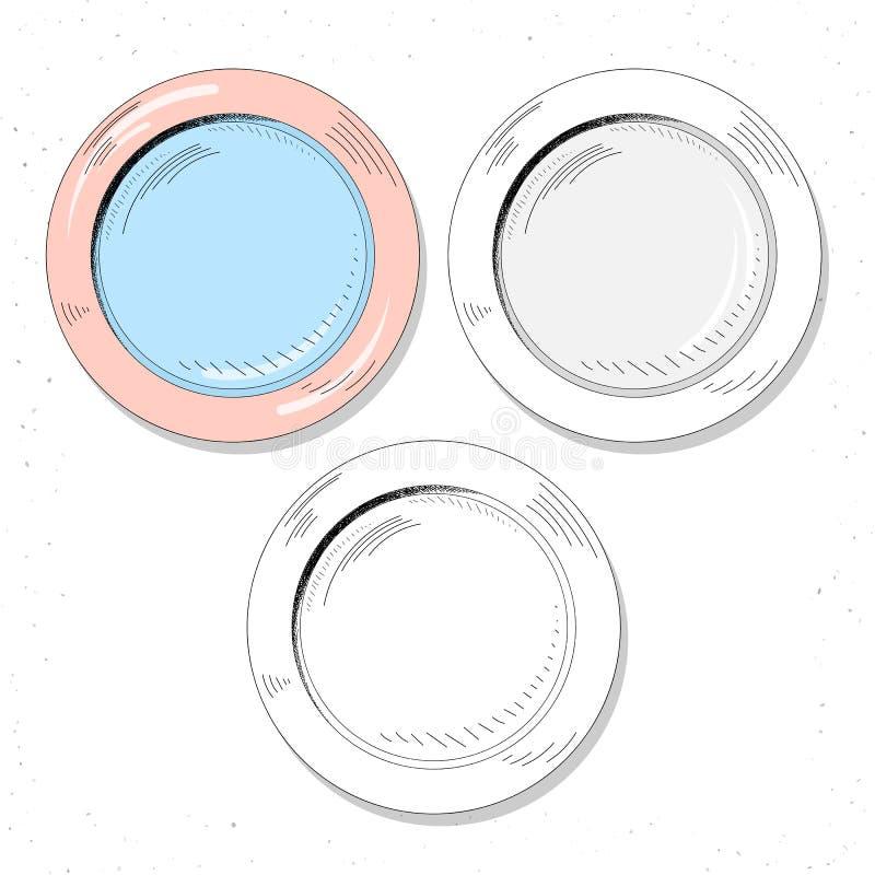 Установленные реалистические плиты эскиза Столовый прибор для того чтобы создать дизайн иллюстрация вектора