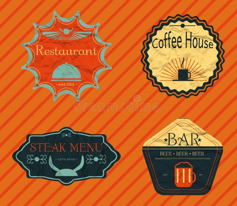 Установленные ретро винтажные значки, ленты и скомканный битник ярлыков иллюстрация штока