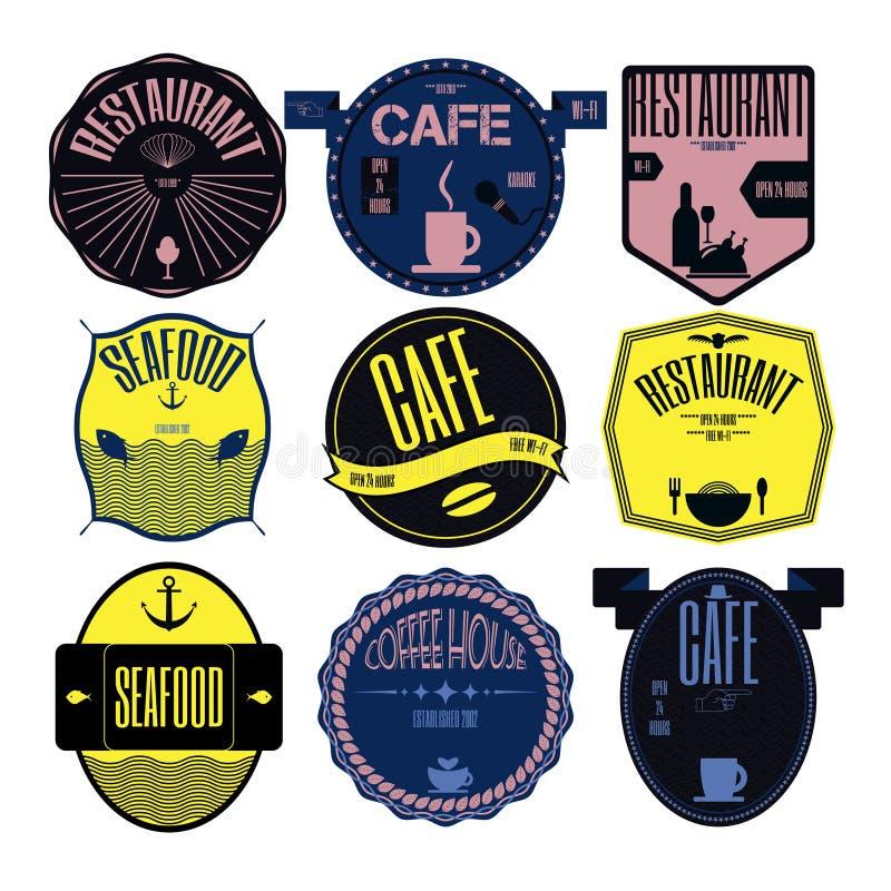 Установленные ретро винтажные значки, ленты и шильдик битника ярлыков иллюстрация штока