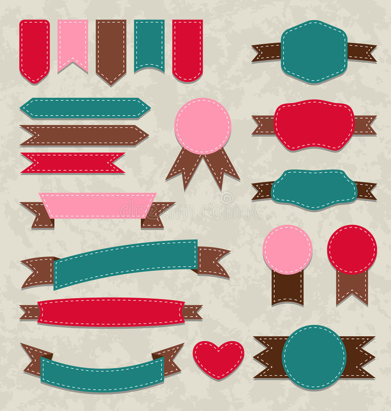 Установленные ретро ленты, винтажные ярлыки, эмблемы бесплатная иллюстрация