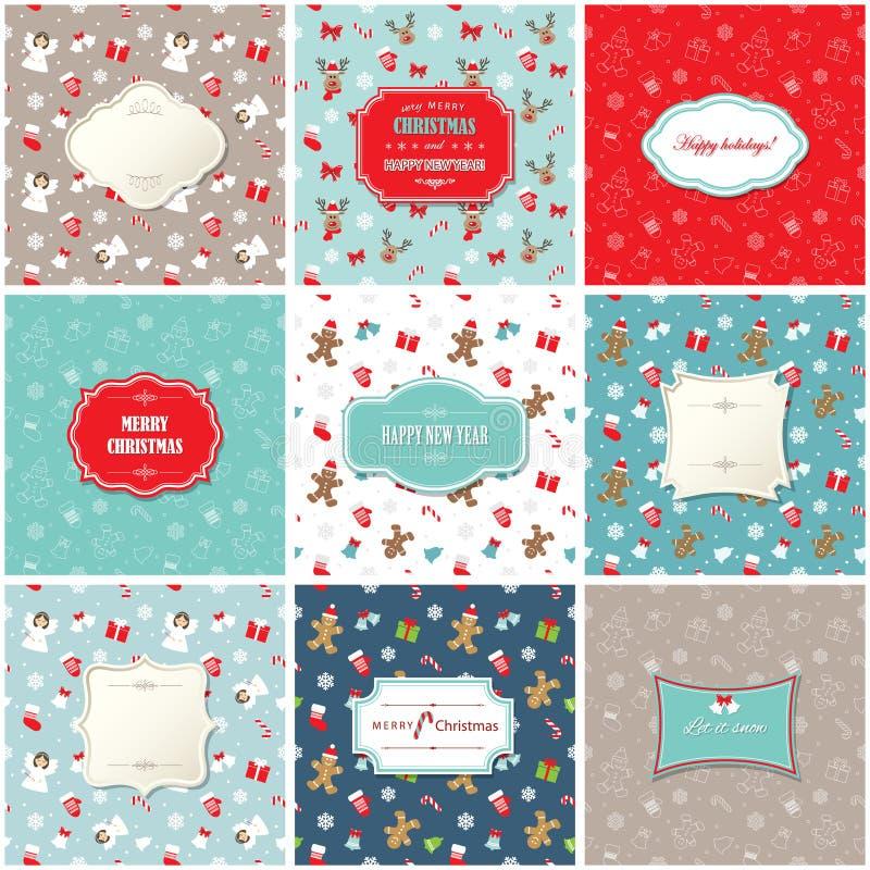 Установленные рождество и счастливые шаблоны поздравительной открытки Нового Года 9 кадров на безшовных картинах иллюстрация вектора