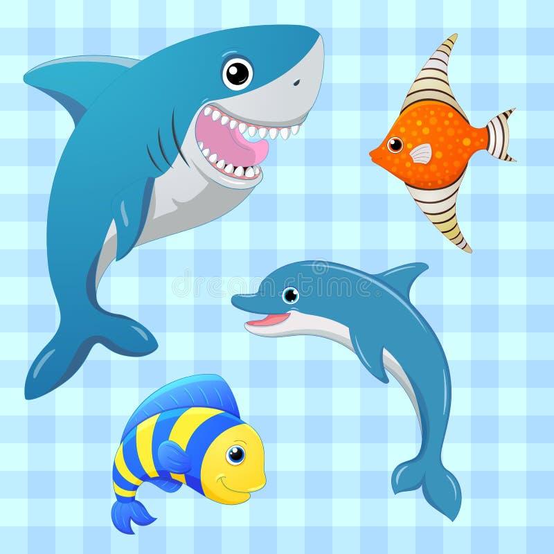 Установленные рыбы моря 8 вектор eps изолированный рыбами Характер шаржа милый Иллюстрация притяжки руки иллюстрация штока