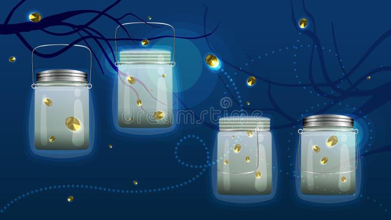 Установленные светляки банка иллюстрация штока