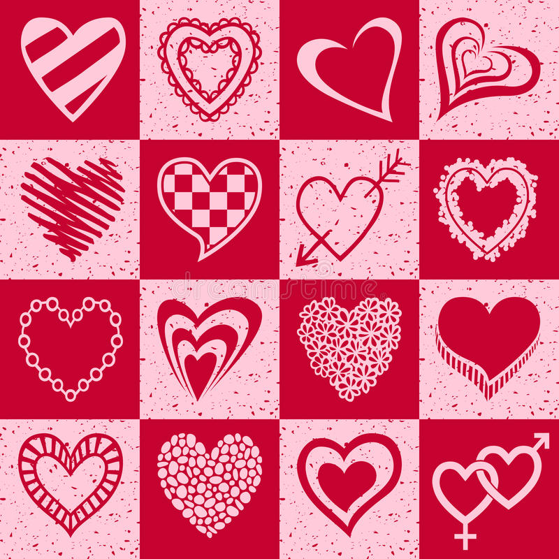 Установленные сердца нарисованные рукой иллюстрация вектора