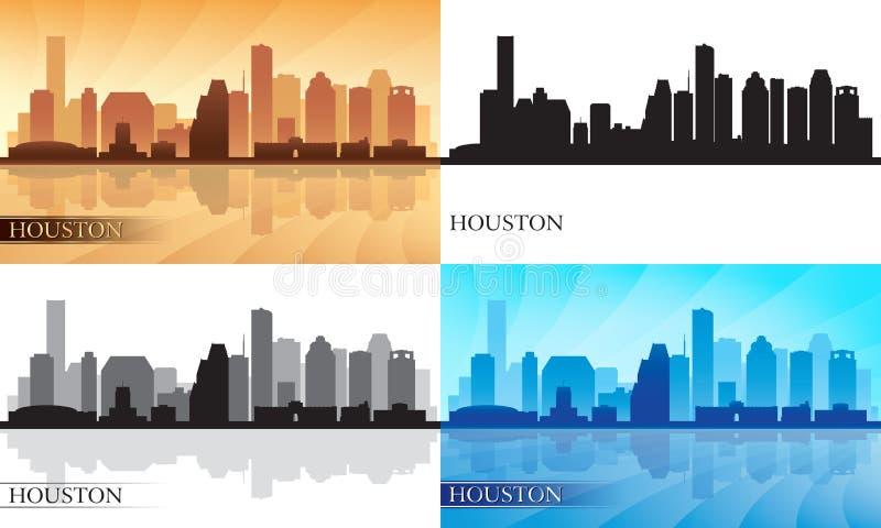 Установленные силуэты горизонта города Хьюстона иллюстрация вектора
