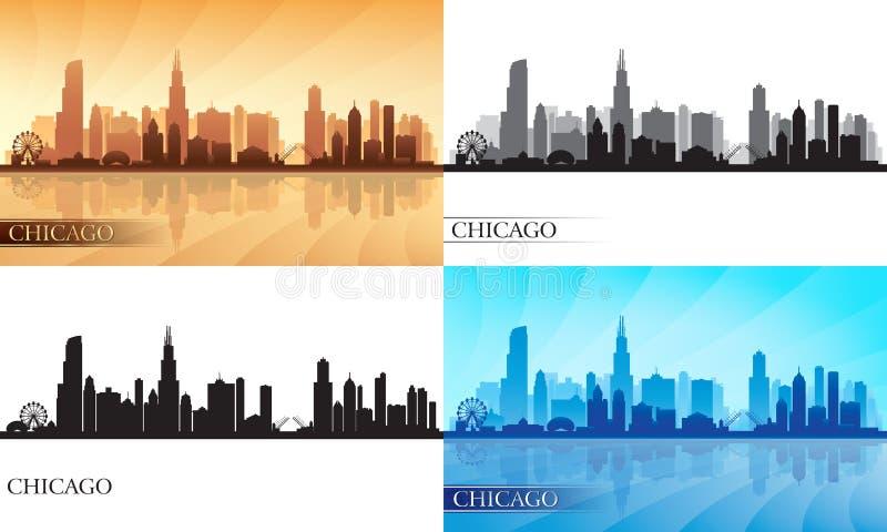 Установленные силуэты горизонта города Чикаго иллюстрация штока