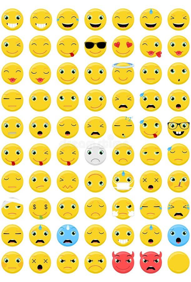 Установленные смайлики - 70 различных эмоций стоковые фото