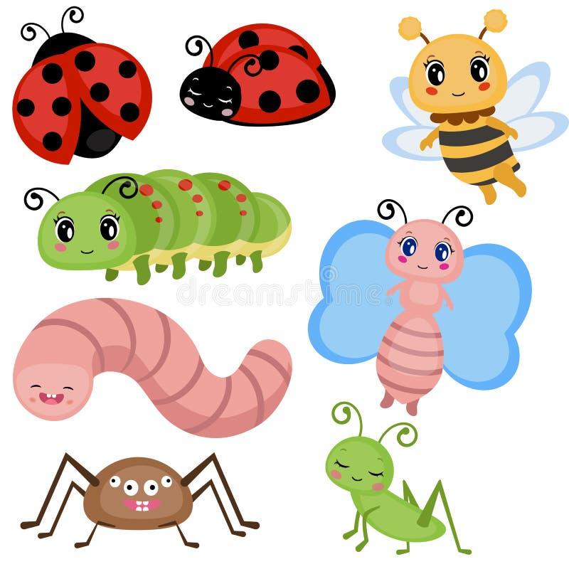 Установленные смешные насекомые иллюстрация штока