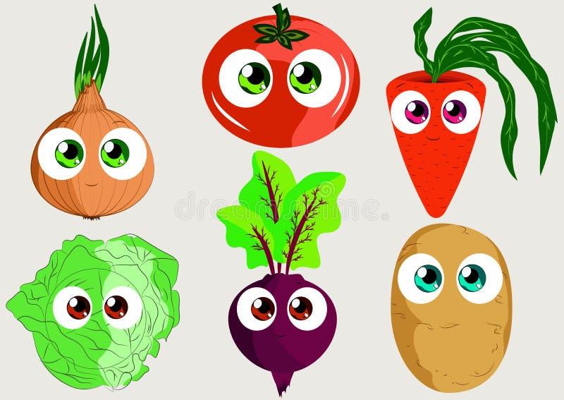 Установленные смешные овощи для пользы как стикеры, книги, игры и другое иллюстрация вектора