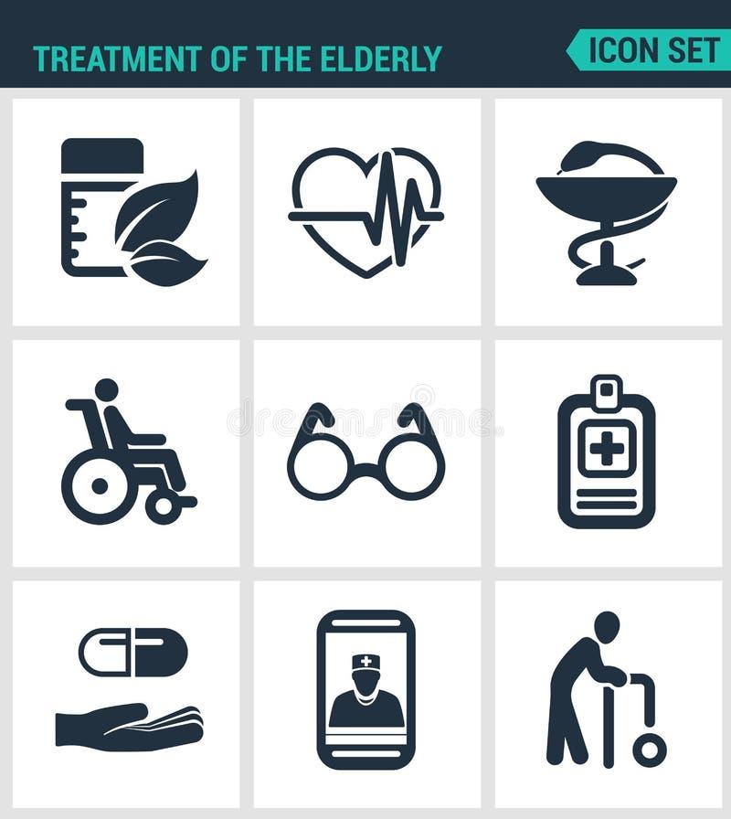Установленные современные значки Обработка пожилая медицина, сердцебиения сердца, фармация, инвалид, стекла, пилюльки списка, тел иллюстрация вектора