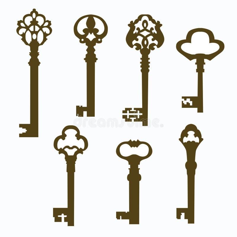 Установленные старые высекаенные ключи двери иллюстрация вектора