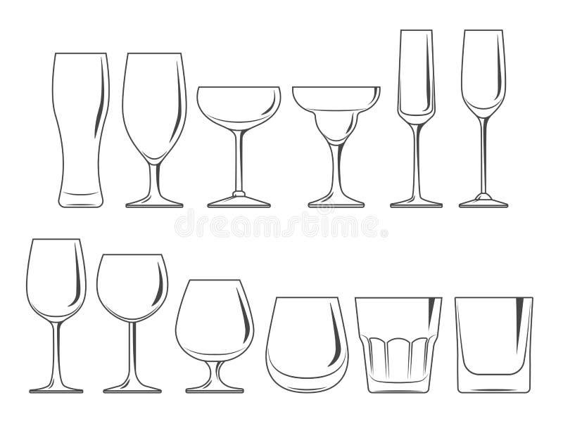 Установленные стекла и рюмки иллюстрация вектора