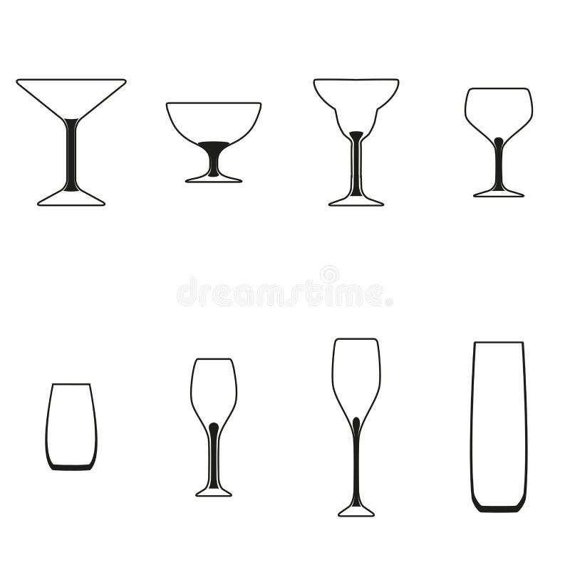 установленные стекла Vector иллюстрация различных пить и коктеилей, изолированная на белой предпосылке Картина знака Ярлык для ко иллюстрация штока