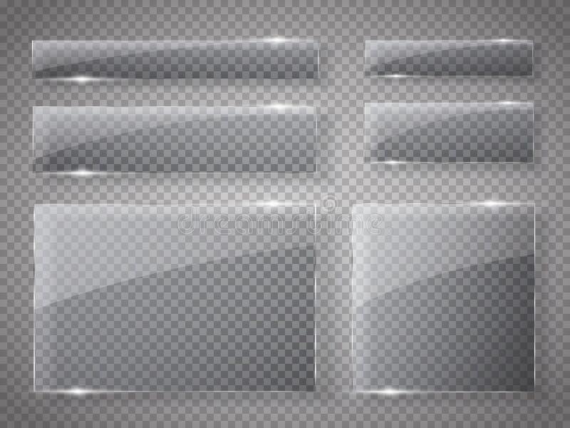 Установленные стеклянные пластинки Знамена вектора стеклянные на прозрачной предпосылке иллюстрация штока