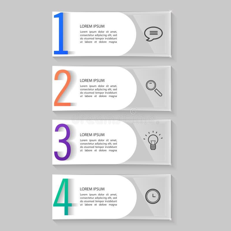 Установленные стеклянные пластинки, infographic дизайн иллюстрация вектора
