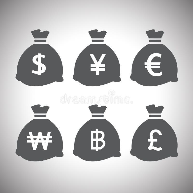 Установленные сумки денег вектора бесплатная иллюстрация
