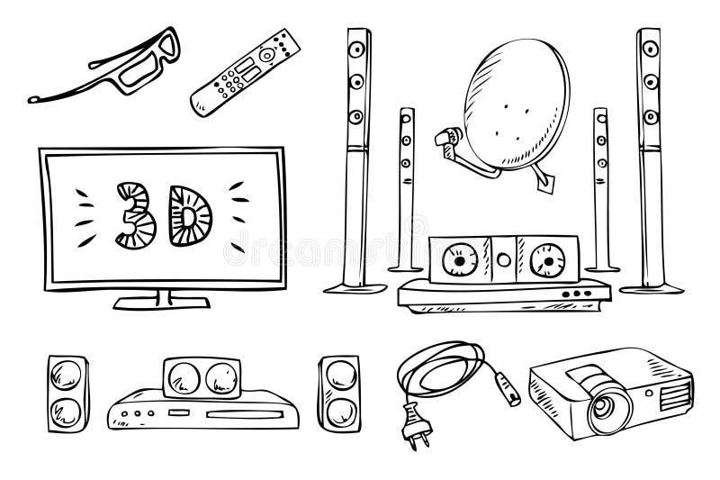 Установленные ТВ и ядровые бытовые приборы бесплатная иллюстрация