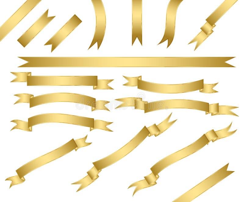 установленные тесемки золота иллюстрация вектора