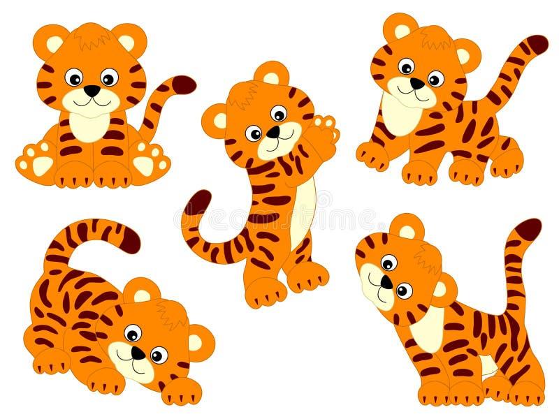 Установленные тигры вектора бесплатная иллюстрация