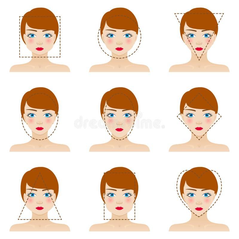 Установленные формы стороны различной женщины иллюстрация вектора