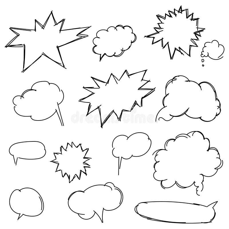 Установленные формы doodle для сообщения Эскизы карандаша Scrib нарисованное рукой иллюстрация вектора