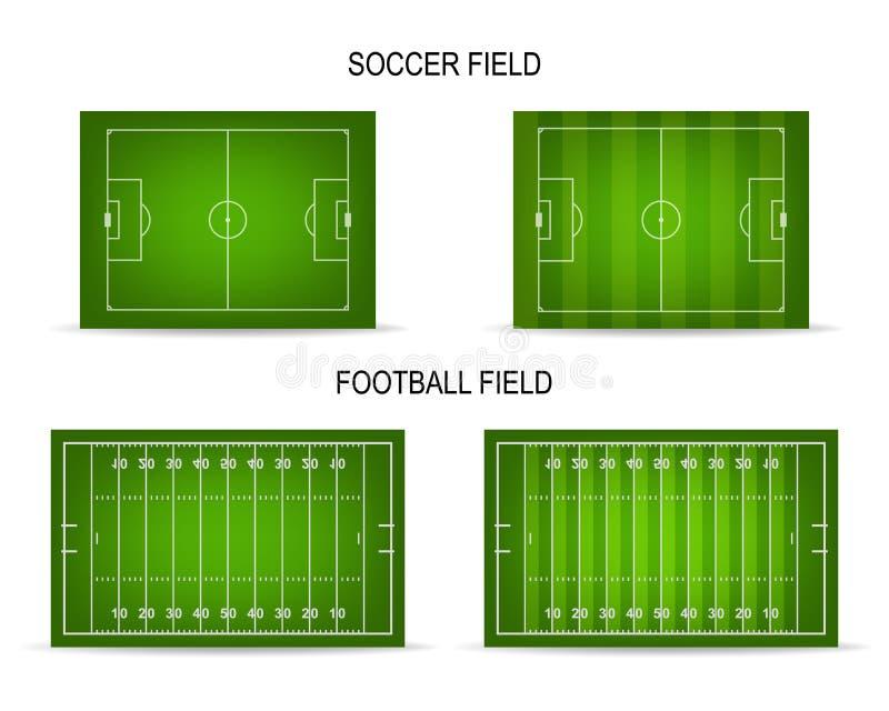Установленные футбол и футбольные поля вектора бесплатная иллюстрация