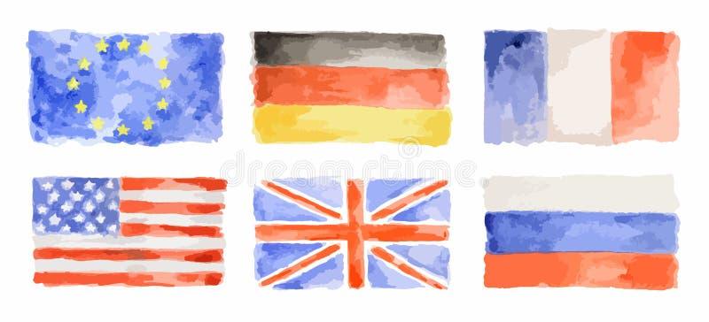 Установленные флаги акварели иллюстрация вектора