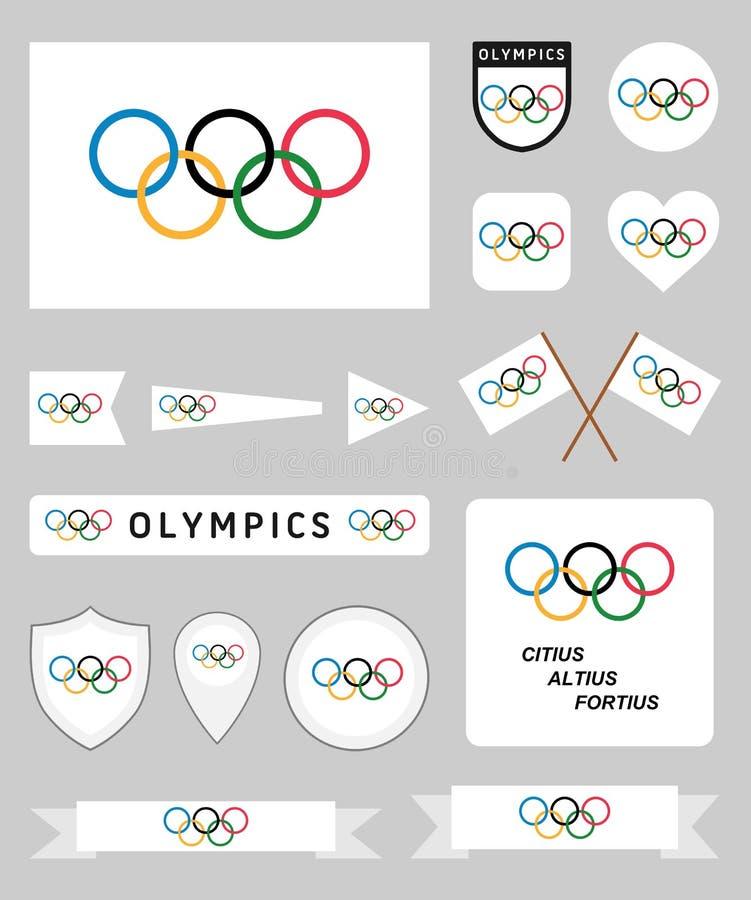 Установленные флаги Олимпиад иллюстрация штока