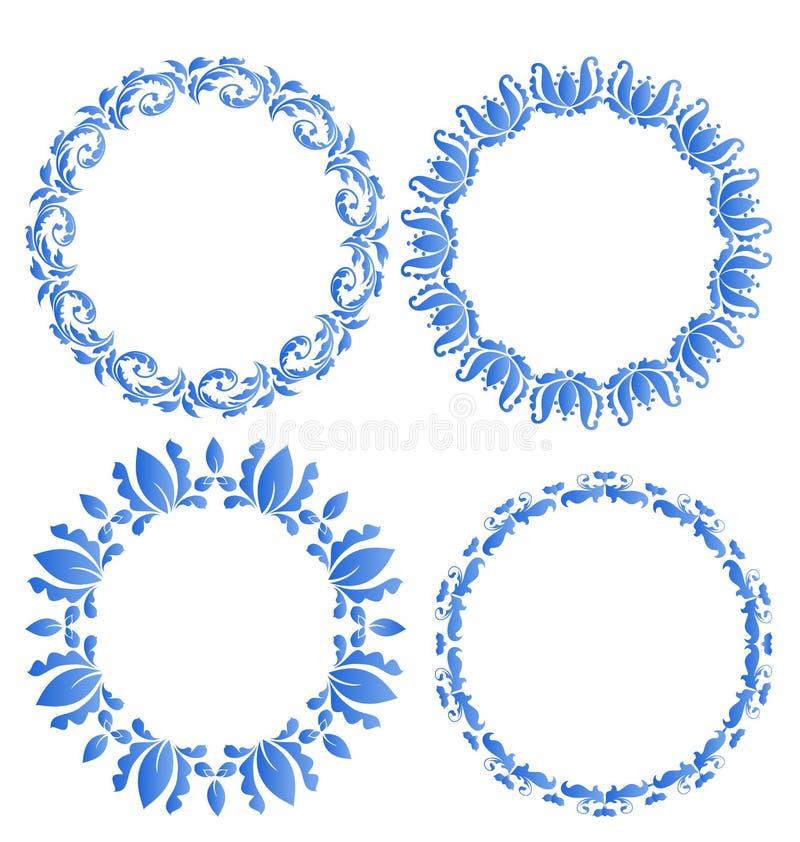 Установленные флористические богато украшенные круглые рамки для вашего дизайна торжества po иллюстрация вектора