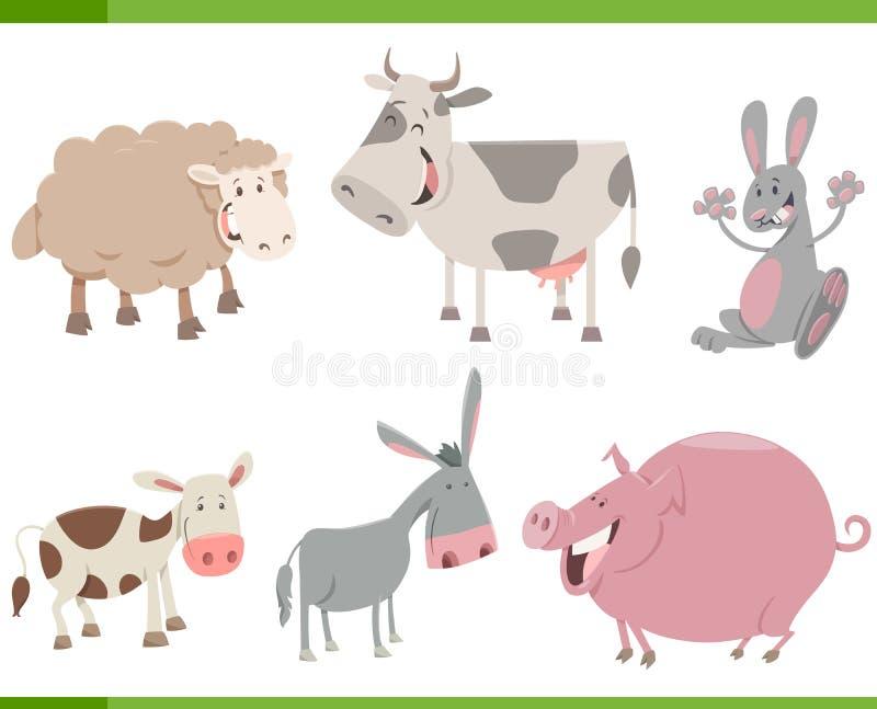 Установленные характеры животноводческой фермы шаржа бесплатная иллюстрация