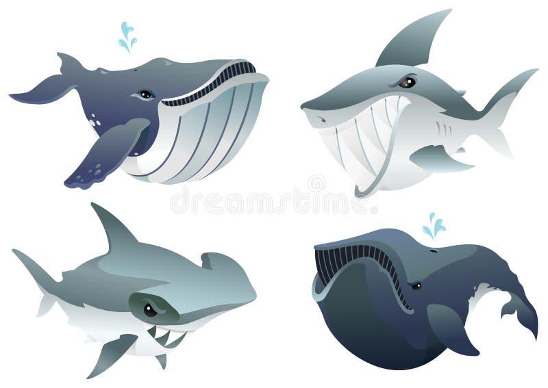 Установленные хищники океана иллюстрация штока