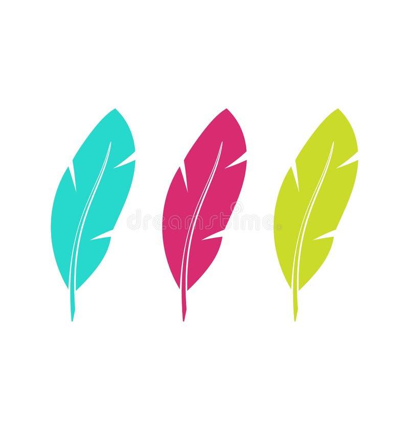 Установленные цветастые пер изолированные на белой предпосылке бесплатная иллюстрация
