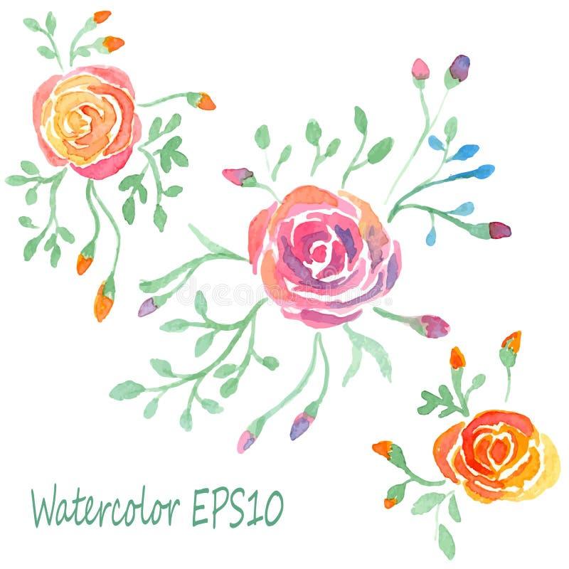 Установленные цветки акварели 8 роз растра свободной руки формы eps чертежа добавлению черных там трассируют белизну версии векто иллюстрация вектора
