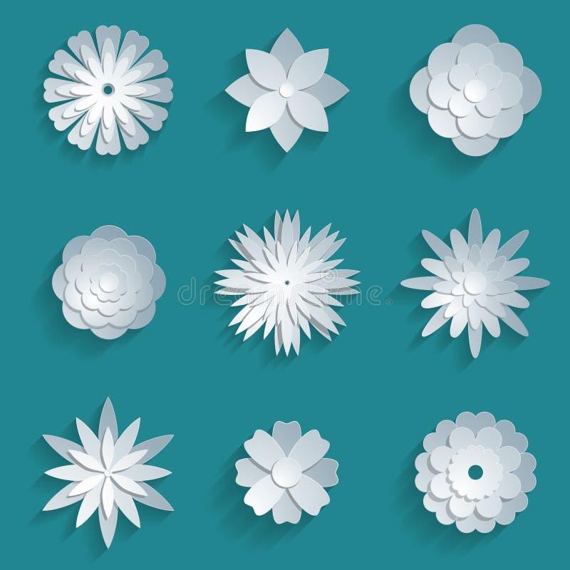Установленные цветки вектора бумажные значки origami 3d бесплатная иллюстрация