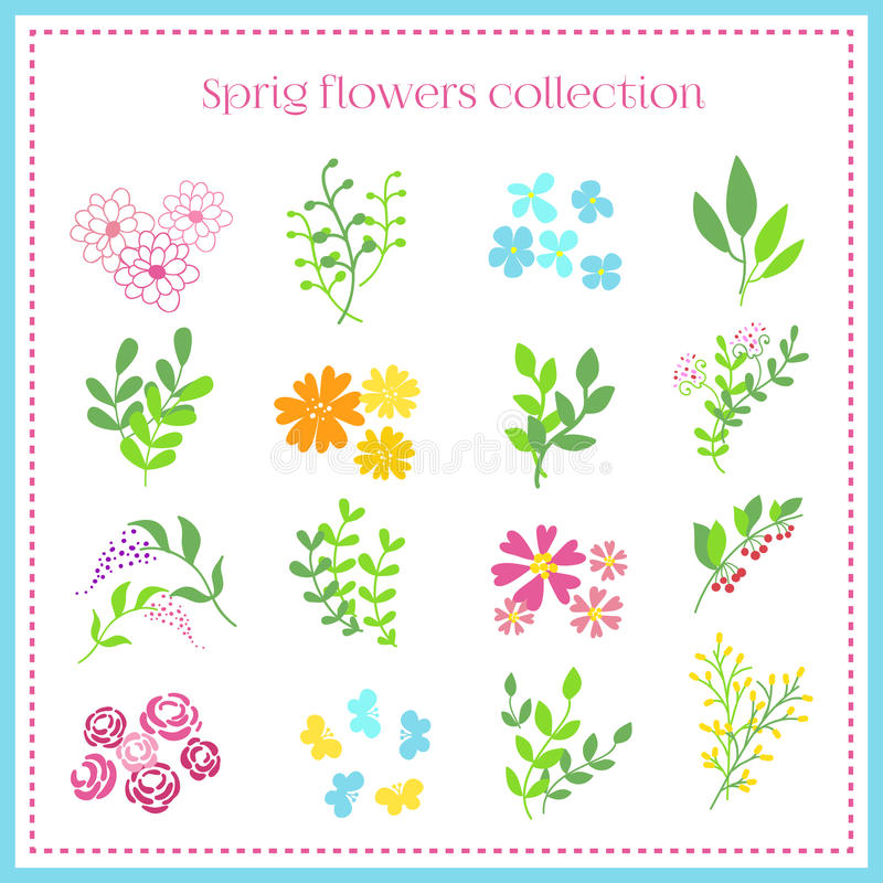 Установленные цветки весны также вектор иллюстрации притяжки corel иллюстрация штока