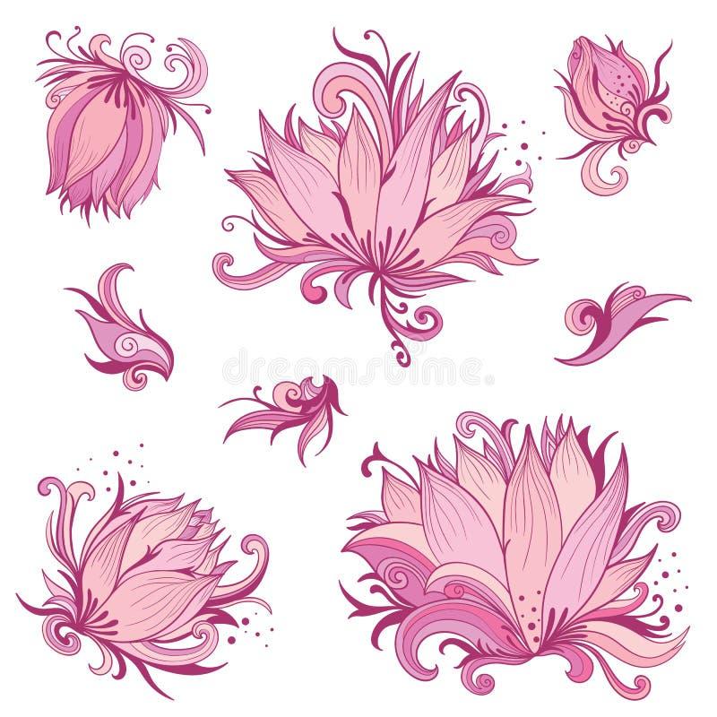 Установленные цветки лотоса вектора розовые бесплатная иллюстрация