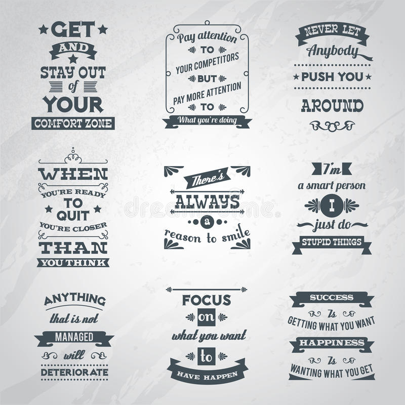 Установленные цитаты успеха бесплатная иллюстрация