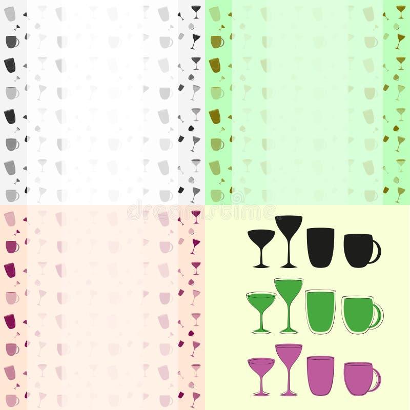 Установленные чашки и стекла и картина предпосылки бесплатная иллюстрация